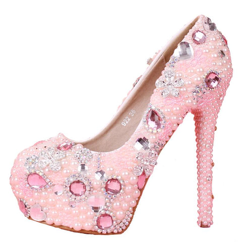 BlingQueenAu Pink Pearl Bride Wedding Shoes/Heels/Rhinestone Shoes/Party & Evening/Crystal Bridal Shoes