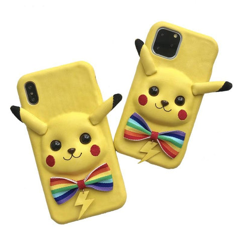 BlingQueenAu PU Leather Cute Pikachu Phone Case | Cartoon Iphone Case| Huawei Phone Case | Custom Made Phone Case