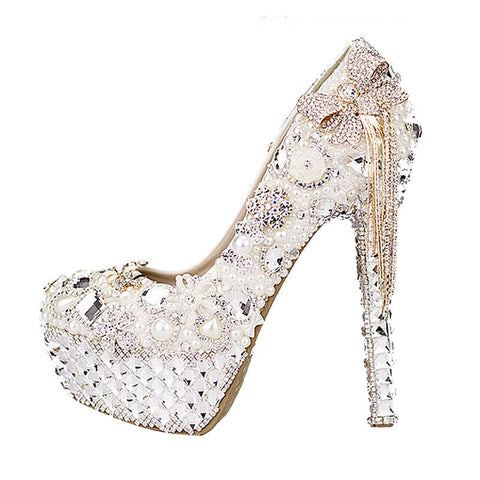 BlingQueenAu Stylish Womens Bling Rhinestone Bride  Wedding Beautiful Shoes with personalized signature design