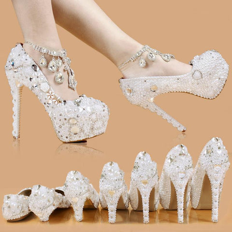 BlingQueenAu Stylish Womens Bling Rhinestone Bride Wedding Shoes with personalized exclusive signature design
