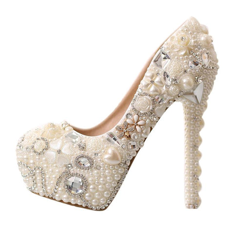 BlingQueenAu The Wedding Shoes | Custom Bridal Shoes |White Pearl Bridal Shoes | Beach Wedding Shoes | Crystal Bridal Shoes