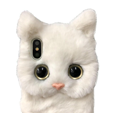 BlingQueenAu White Cat Plush Shell iPhone 11/11 Pro/XSmax/XR/XS/8Plus/ 7plus/6/6S/6Plus Fluffy Cover Phone Case/Plush Christmas Gift