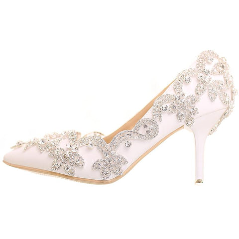 BlingQueenAu Womens Luxury diamond White Wedding Bridal Shoes/Rhinestone Shoes/Heel Pump/Bling Shoes