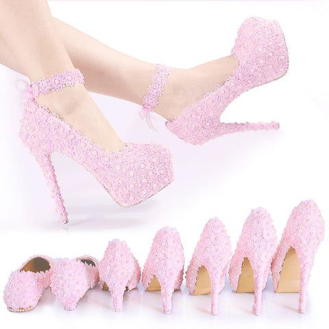 BlingQueenAu Womens Pink Lace Wedding Beautiful Bridal Shoes|Bridal Flat|Personalized Wedding Shoes