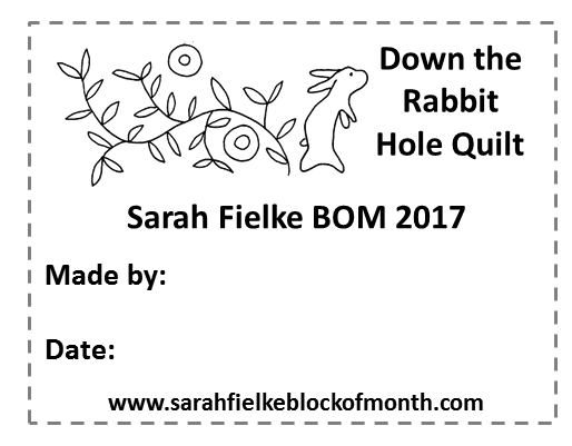 Down the Rabbit Hole BOM Quilt Label and Postcard (Australian Customers)
