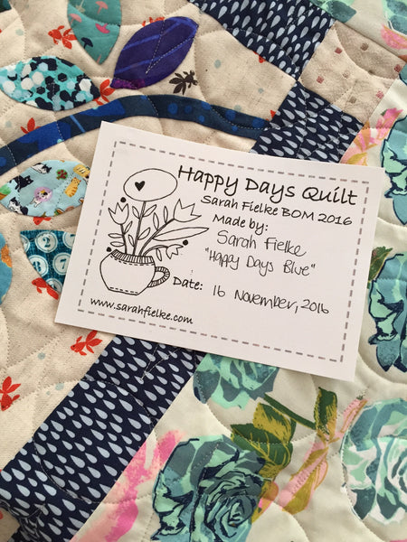 Happy Days BOM Quilt Label and Postcard (Australian Customers)