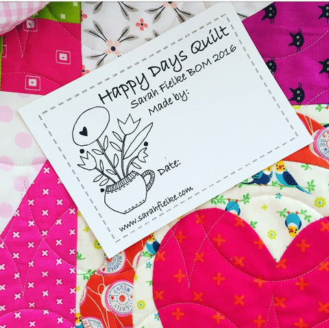 Happy Days BOM Quilt Label and Postcard (Outside Australia Customers)