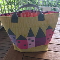 Little City Project Tote Bag Kit - pink stripe pink houses
