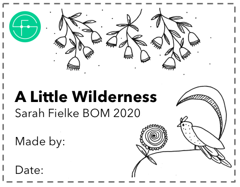 A Little Wilderness BOM Quilt Label and Postcard (Australian Customers)