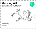 Growing Wild BOM Quilt Label and Postcard (Australian Customers)