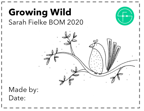 Growing Wild BOM Quilt Label and Postcard (International Customers)