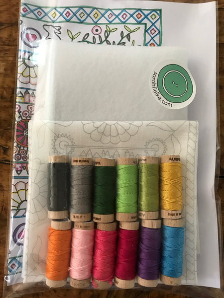 The Grasshopper Embroidery Panel Kit - Multicolor