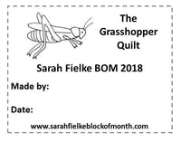 The Grasshopper BOM Quilt Label and Postcard (Outside Australia Customers)