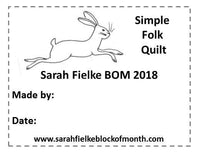Simple Folk BOM Quilt Label and Postcard (Australian Customers)