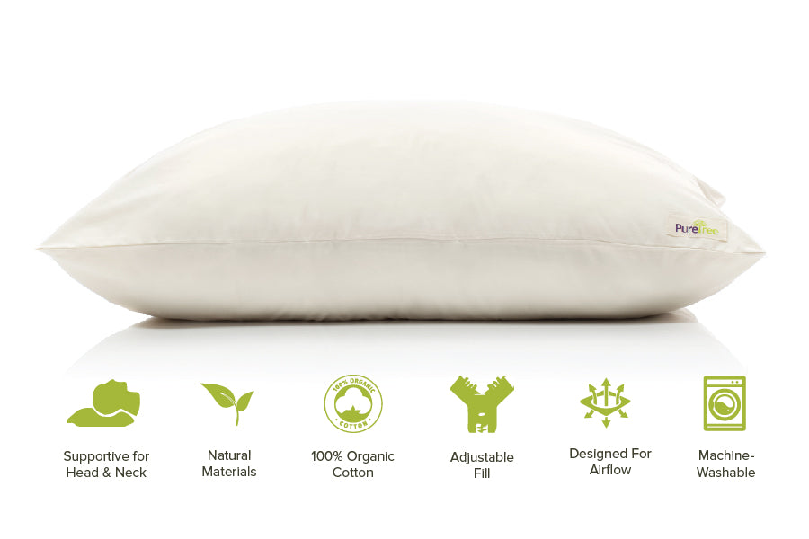 PureTreeⓇ Adjustable Organic Shredded Natural Latex Pillow with Organic Cotton Cover - PureTree by Top&Ample