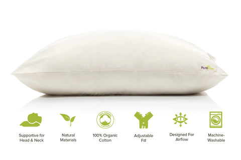 PureTree™ Certified Natural Shredded Latex Pillow Organic Cotton Cover- Queen/Standard - 1 for $45.99 *Free Shipping*
