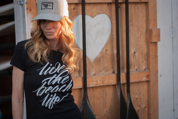 Women's - Live the Beach Life Script Tee - Black