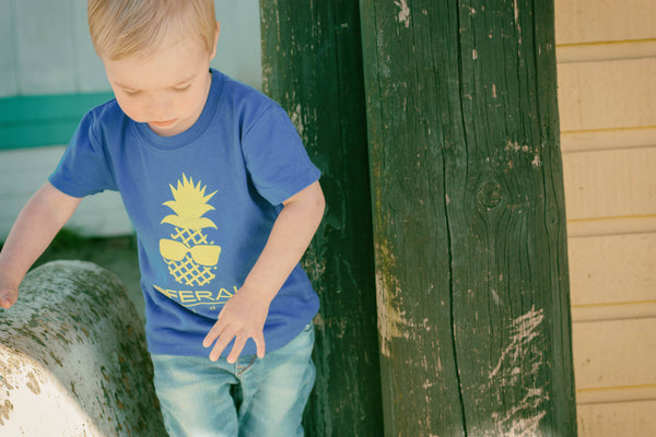 The Kid's Pineapple Tee- Blue