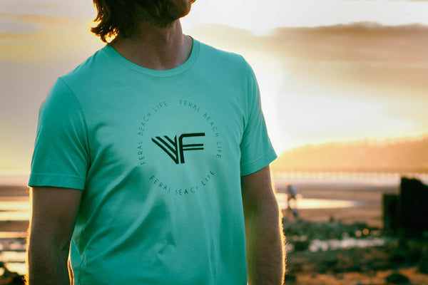 Men's - Feral Beach Life Circle Tee - Teal