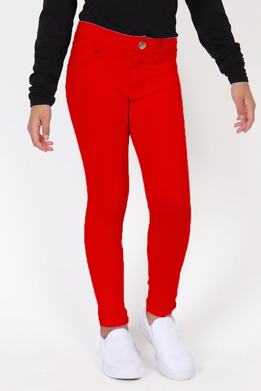 Red Stretch Jeans-Girls