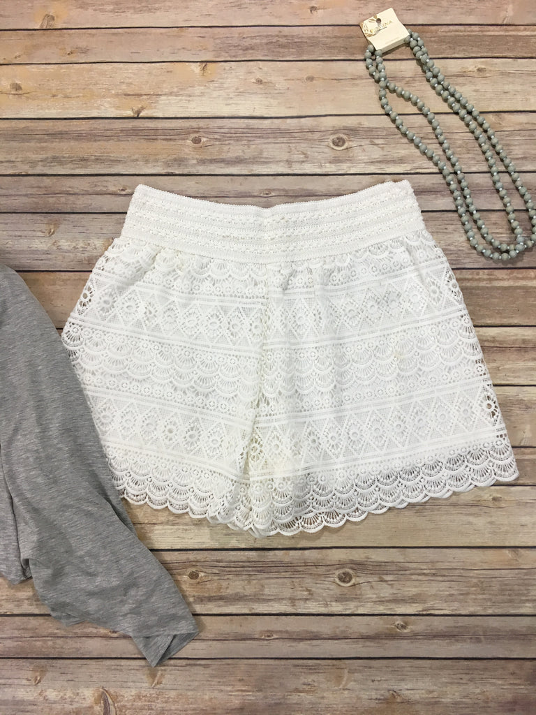 Lace n' Grace Shorts Plus- Ivory