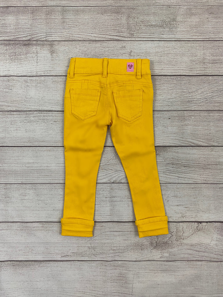 Yellow Distressed Jeans-Girls