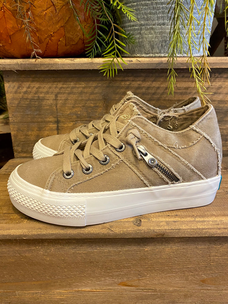 Hipster Smoked Twill Sneakers-Taupe