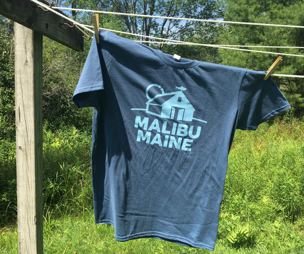 Malibu Maine Barn Logo T-Shirt - Lake Blue
