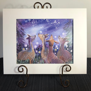 Art Print: Fireflies & Starry Skies, Deer in a meadow in Maine