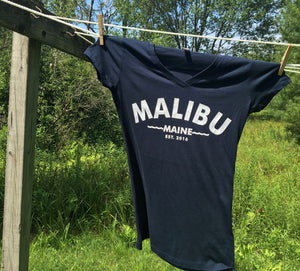 Malibu Maine Est. 2016 T-Shirt - Women's V-neck Navy