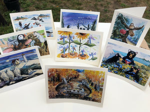 SURPRISE BAG of 8 Photo Note Cards with Envelopes: A Variety of Animals & Scenes from The Maine Birthday Book