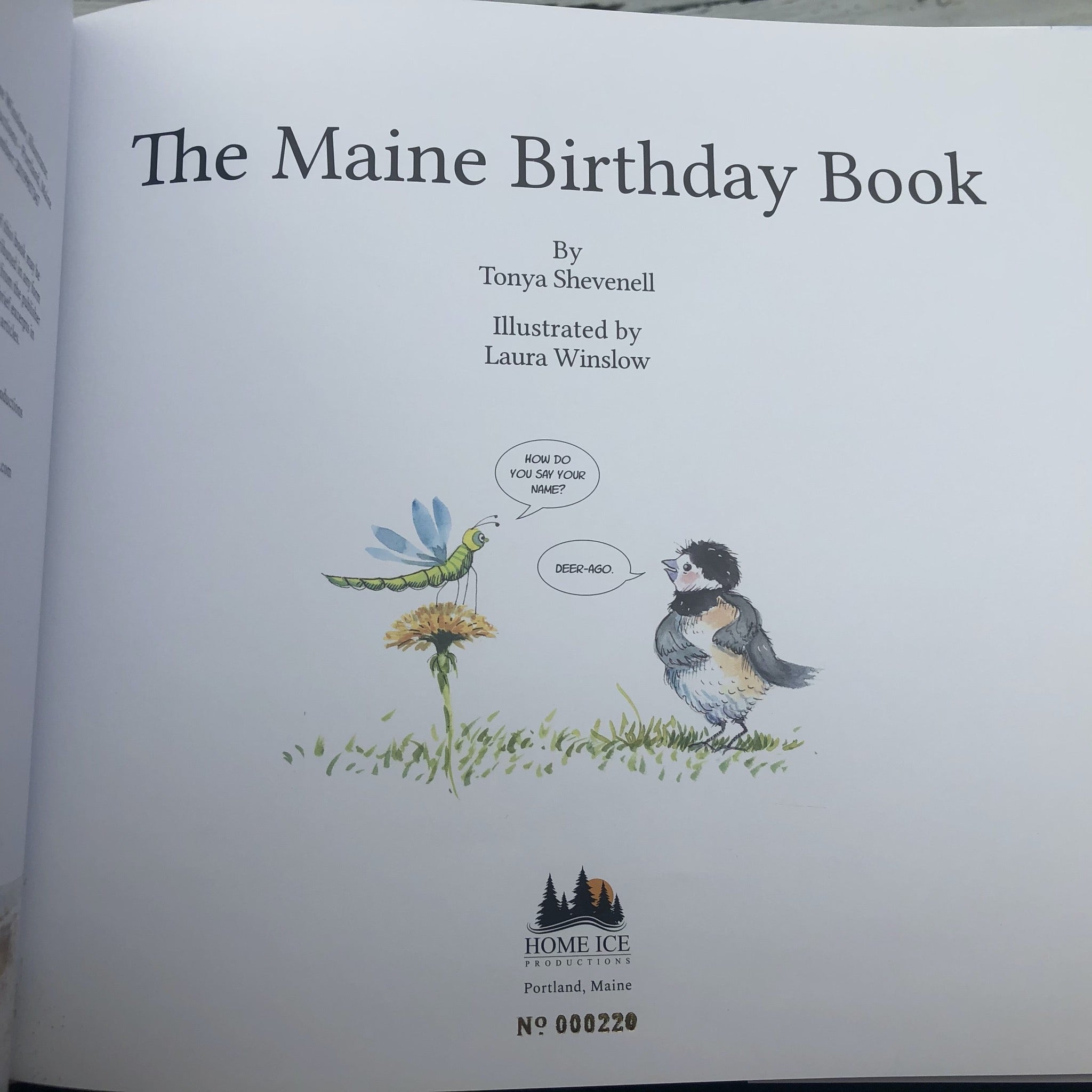 Book No. 220 - The Maine Birthday Book - Special collection: gold foil numbered book