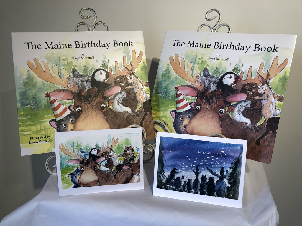 SPECIAL: The Maine Birthday Book - Two Numbered Books with 2 note cards: Books No. 309 and 469