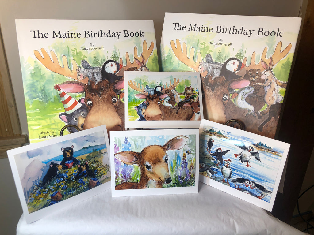 WINTER SPECIAL: The Maine Birthday Book - Two-book Package with 4 note cards: Book No. 398, and one non-numbered book