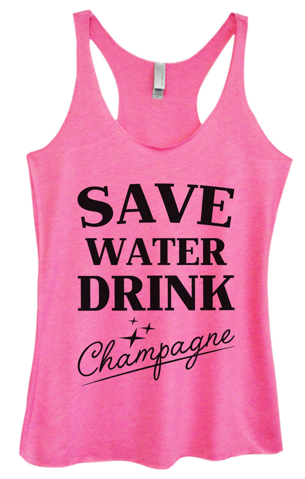 Womens Fashion Triblend Tank Top - Save Water Drink Champagne - Tri-1009 - Funny Shirts Tank Tops Burnouts and Triblends  - 3
