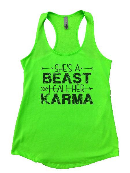 She's A Beast I Call Her Karma Womens Workout Tank Top 1125 - Funny Shirts Tank Tops Burnouts and Triblends  - 3