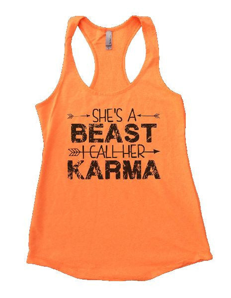 She's A Beast I Call Her Karma Womens Workout Tank Top 1125 - Funny Shirts Tank Tops Burnouts and Triblends  - 1