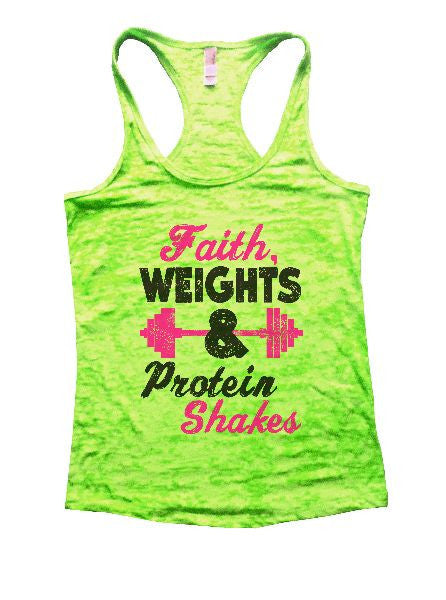 Faith, Weights & Protein Shakes Burnout Tank Top By BurnoutTankTops.com - 1189 - Funny Shirts Tank Tops Burnouts and Triblends  - 2