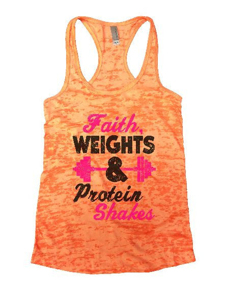 Faith, Weights & Protein Shakes Burnout Tank Top By BurnoutTankTops.com - 1189 - Funny Shirts Tank Tops Burnouts and Triblends  - 4