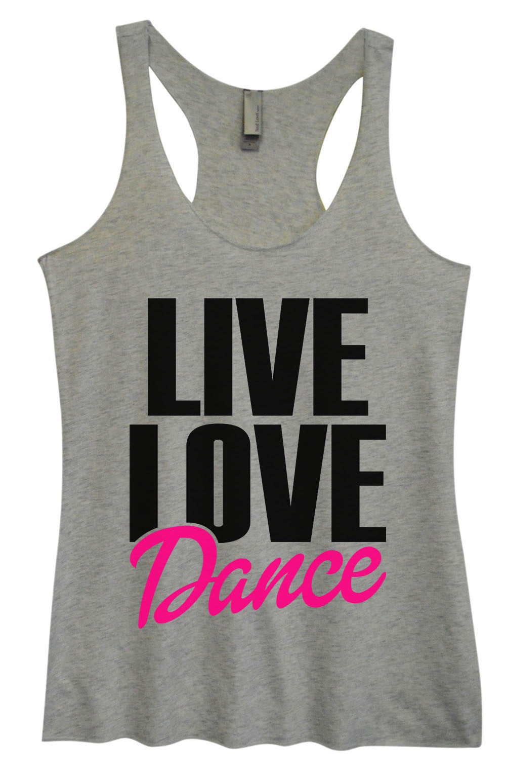 Womens Fashion Triblend Tank Top - Live Love Dance - Tri-1350 - Funny Shirts Tank Tops Burnouts and Triblends  - 2