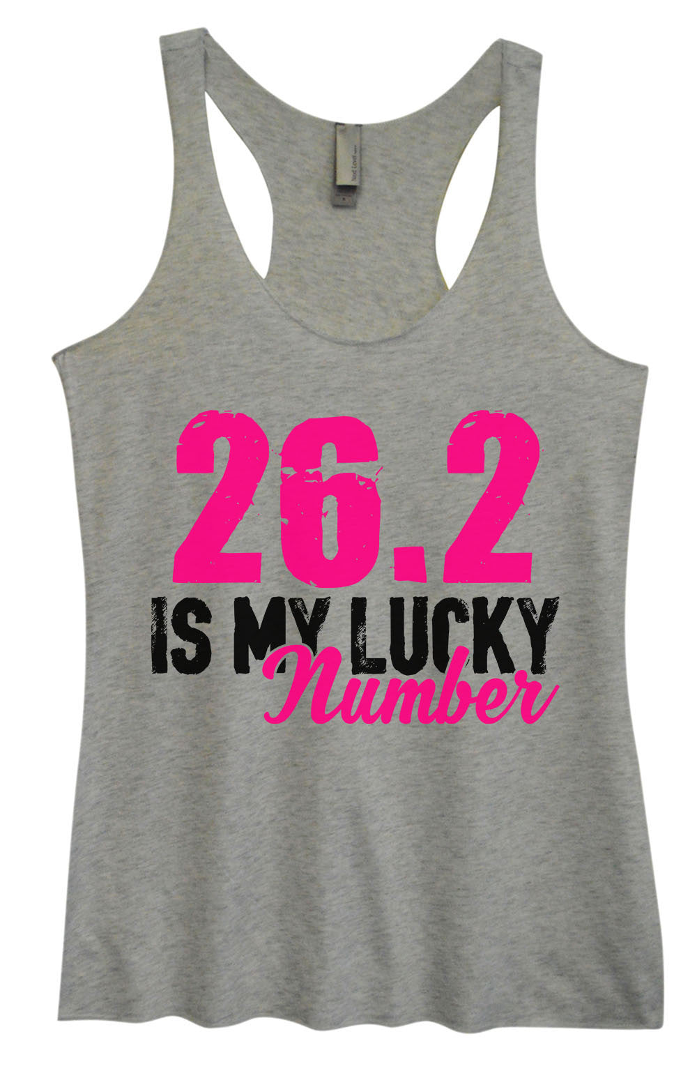 Womens Fashion Triblend Tank Top - 26.2 Is My Lucky Number - Tri-1382 - Funny Shirts Tank Tops Burnouts and Triblends  - 1