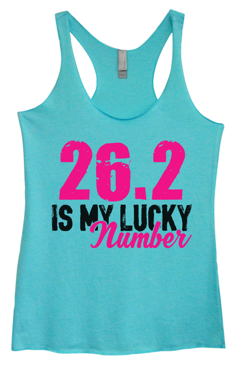 Womens Fashion Triblend Tank Top - 26.2 Is My Lucky Number - Tri-1382 - Funny Shirts Tank Tops Burnouts and Triblends  - 2