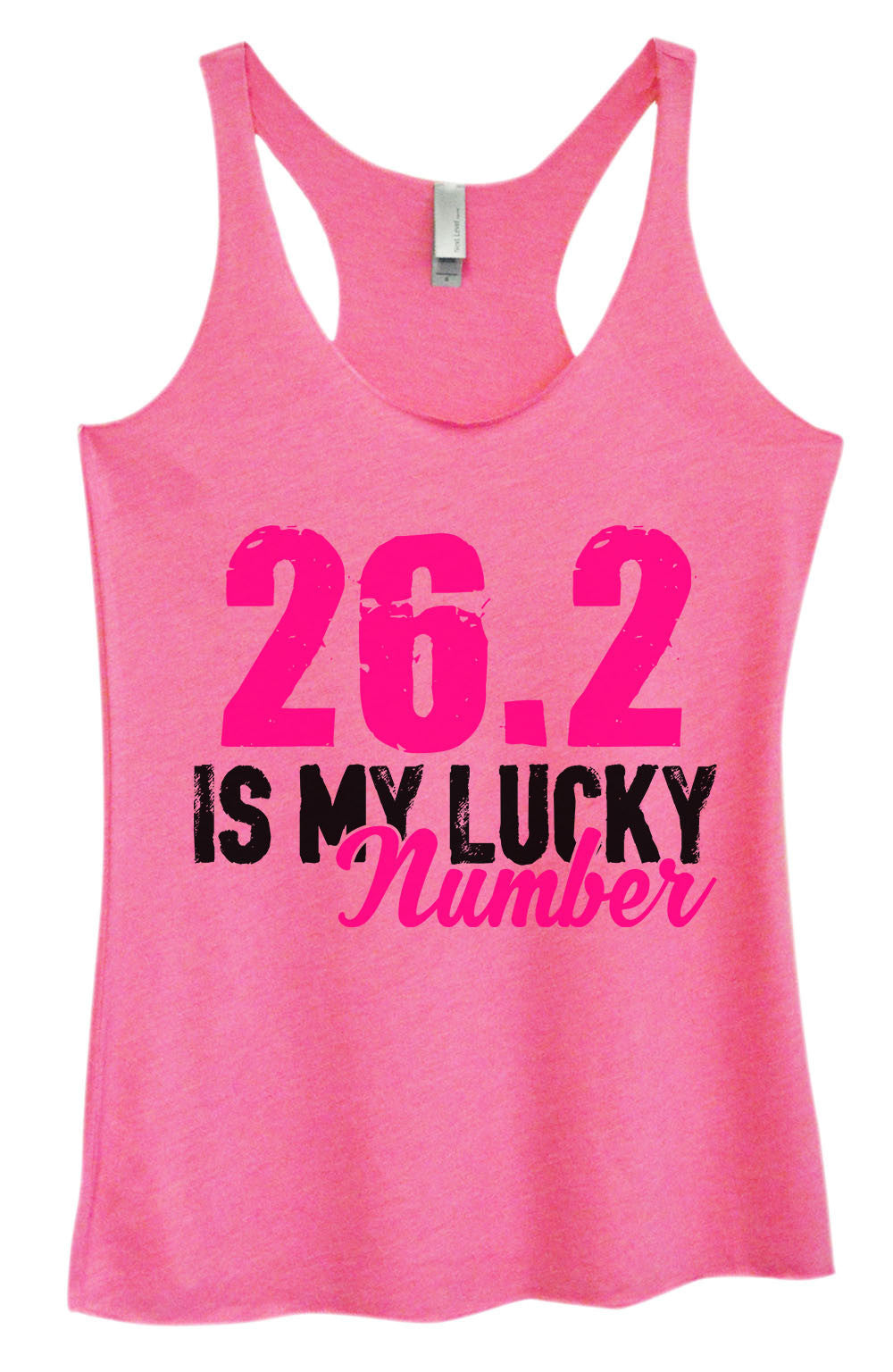 Womens Fashion Triblend Tank Top - 26.2 Is My Lucky Number - Tri-1382 - Funny Shirts Tank Tops Burnouts and Triblends  - 4