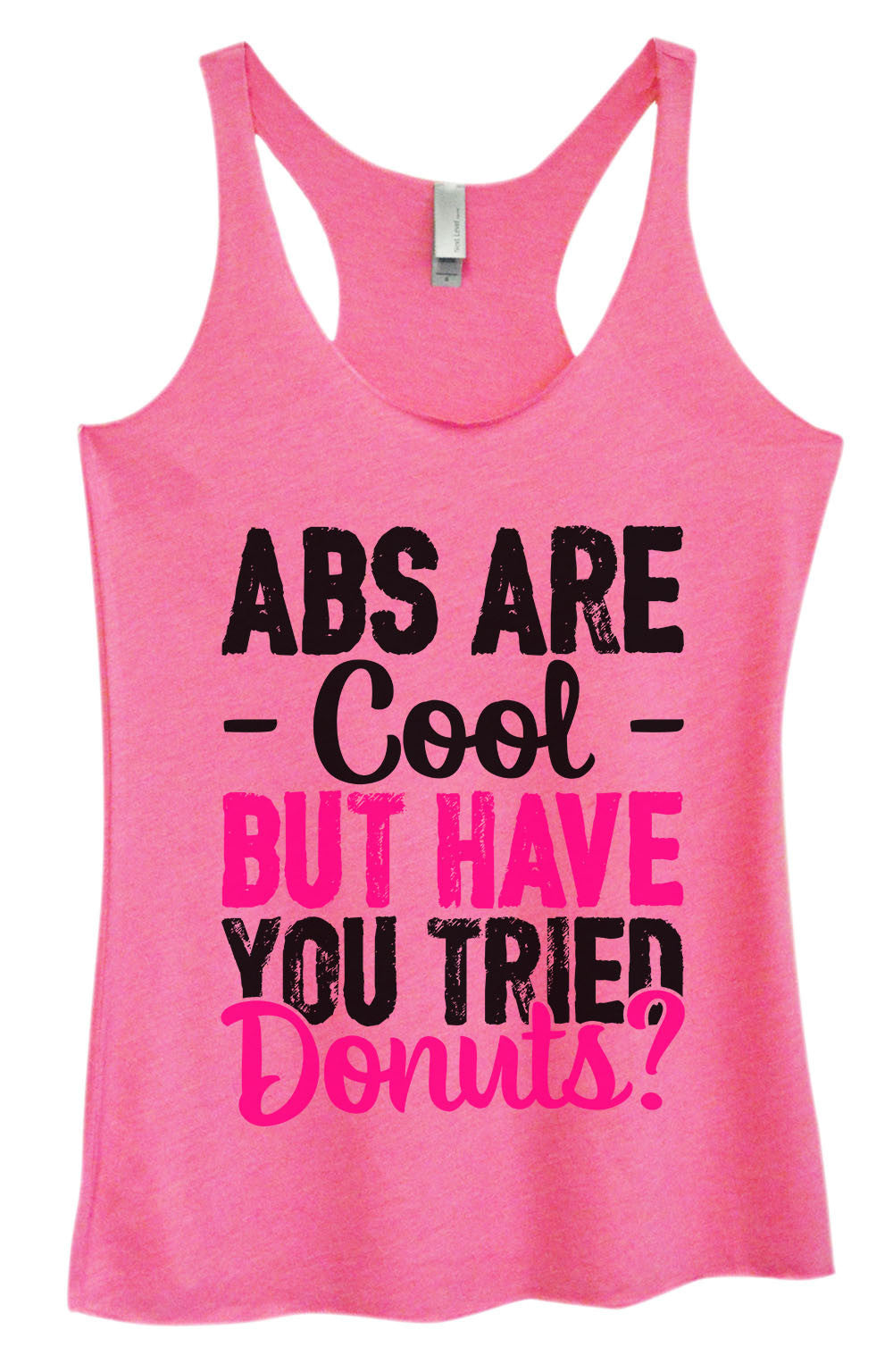 Womens Fashion Triblend Tank Top - ABS Are - Cool - But Have You Tried Donuts? - Tri-1401 - Funny Shirts Tank Tops Burnouts and Triblends  - 4
