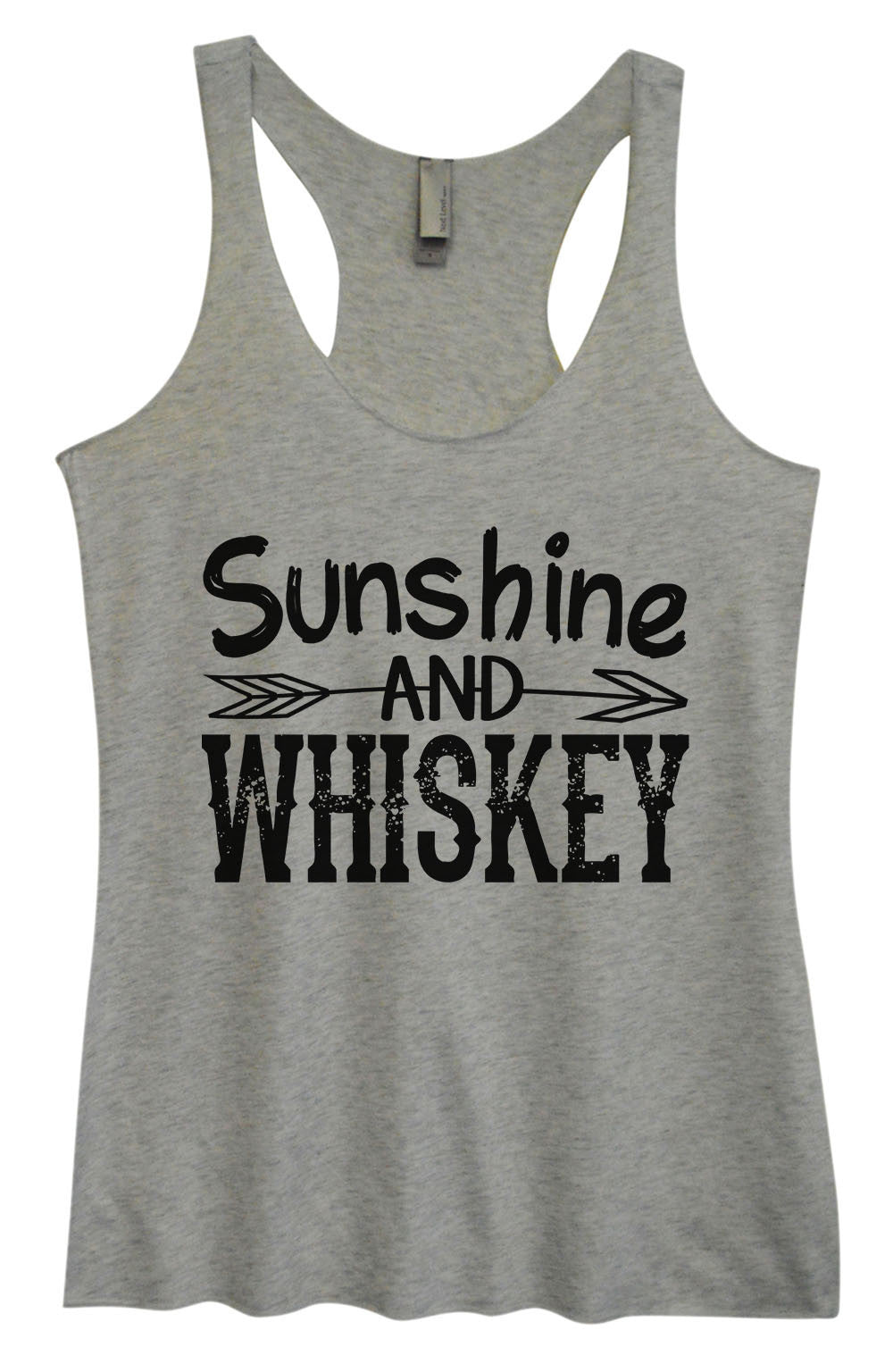 Womens Fashion Triblend Tank Top - Sunshine And Whiskey - Tri-1406 - Funny Shirts Tank Tops Burnouts and Triblends  - 2