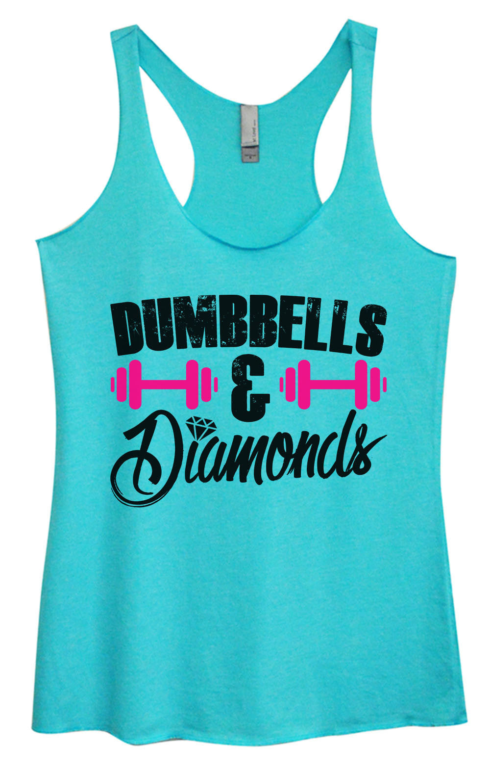 Womens Fashion Triblend Tank Top - Dumbbells & Diamonds - Tri-1416 - Funny Shirts Tank Tops Burnouts and Triblends  - 3