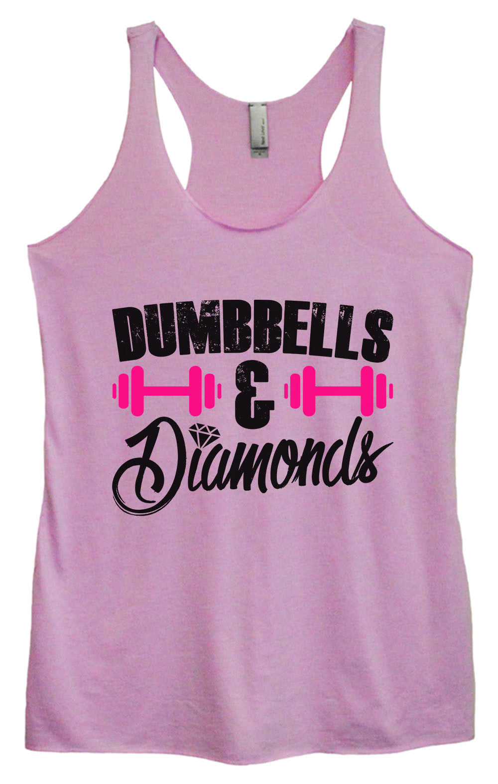 Womens Fashion Triblend Tank Top - Dumbbells & Diamonds - Tri-1416 - Funny Shirts Tank Tops Burnouts and Triblends  - 1