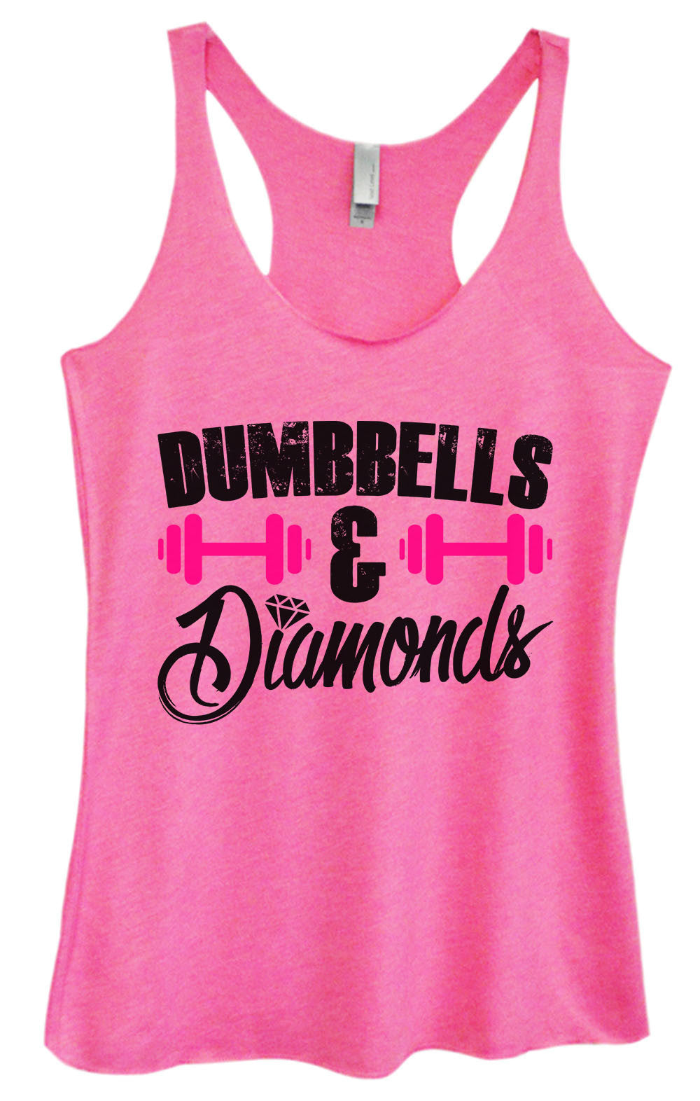 Womens Fashion Triblend Tank Top - Dumbbells & Diamonds - Tri-1416 - Funny Shirts Tank Tops Burnouts and Triblends  - 4