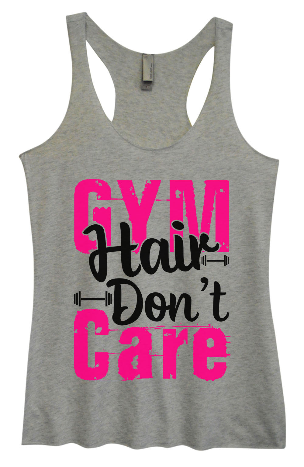 Womens Fashion Triblend Tank Top - Gym Hair Don't Care - Tri-1422 - Funny Shirts Tank Tops Burnouts and Triblends  - 2