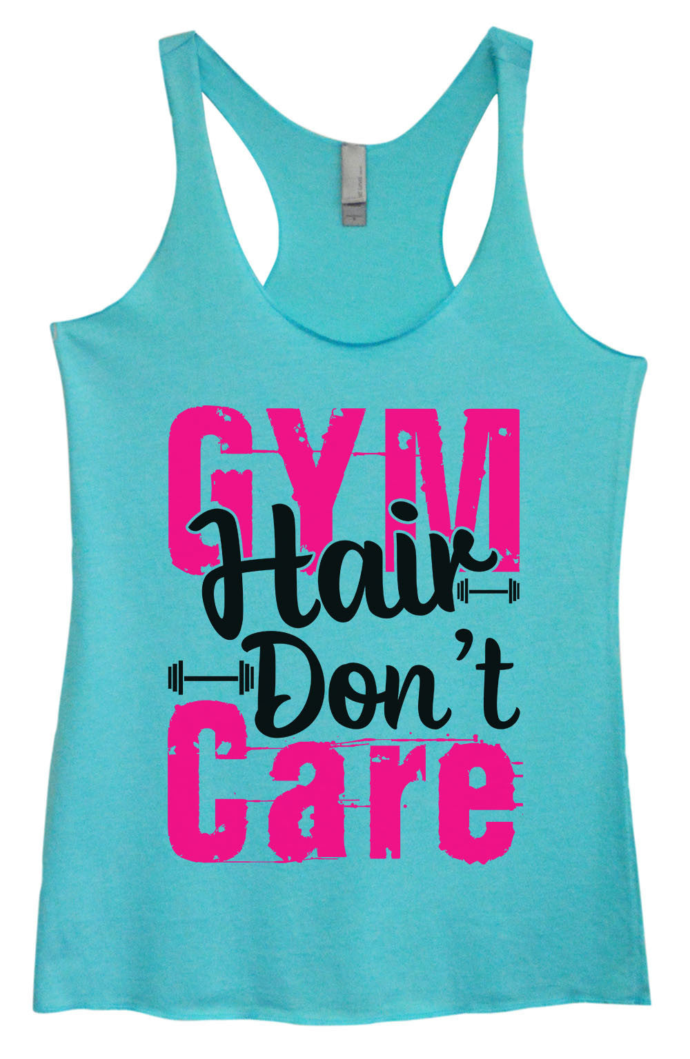 Womens Fashion Triblend Tank Top - Gym Hair Don't Care - Tri-1422 - Funny Shirts Tank Tops Burnouts and Triblends  - 4
